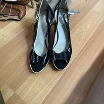 Aldo Womens Cork Wedge Heel Pumps Black Peep Toe Slip on Shoes Us Size 8 Eur 39 Photo