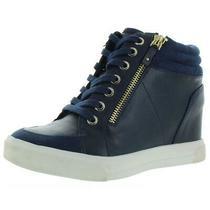 Aldo Womens Kaia Navy Faux Leather Wedges Shoes 6.5 Medium (Bm) Bhfo 8733 Photo
