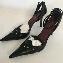 Aldo Womens Leather Size 37 Black Ankle Strap Heels Pumps Photo