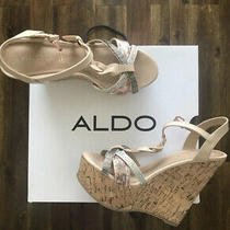 Aldo Womens Sequin T Strap Platform Wedge Sandals Us 8 Blush Pink Silver Photo
