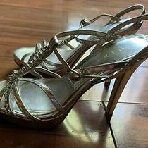 Aldo Womens Silver Strap Sandals Heel Shoes Size 38 Photo