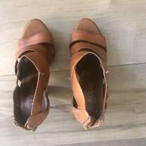 Aldo Wood Leather Platform Heel Sandal Size 36 Photo