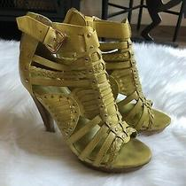 Aldo Yellow Strappy Back Zip Caged High Heels Womens Size 38 Photo