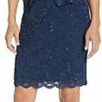 Alex Evenings Women's Tea Length Dress With Blazer Jacket Navy Size 12.0 Lem1 Photo