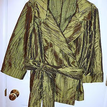 Alex Marie Dress Blouse Green Sage Crushed Taffeta  Sz L  Photo