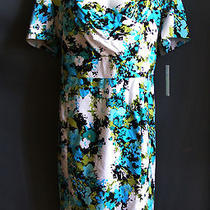 Alex Marie Sz 24w New Aqua Teal Floral Cotton Blend Surplice Plus Dress Spring Photo