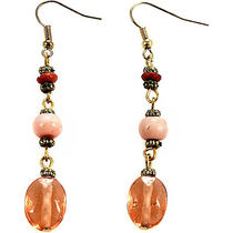 Alexa Starr Burnished Gold Linear Earrings With Blush Photo
