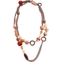 Alexa Starr Long Copper Chain Necklace With Blush Glass Jewelry New Photo