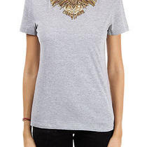 Alexander Mc Queen Women Grey Round Neck Cotton T-Shirt and Applications Photo