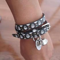 Alexander Mcqueen 245 Black Leather Skull Double Wrap Bracelet. Nwt. Photo