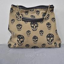 Alexander Mcqueen Army Green Canvas Skull Print Large Tote Hobo Handbag Purse Photo