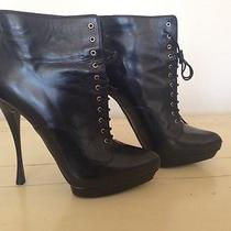 Alexander Mcqueen Black Ankle Leather Boots Size 39.5 (Us 9.5) Photo