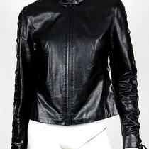 Alexander Mcqueen Black Corset Detail Leather Motorcycle Jacket 44 Photo