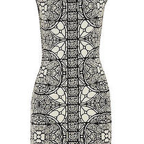 Alexander Mcqueen Black/cream Wool Blend Stained Glass Jacquard Dress Xxl 1295 Photo