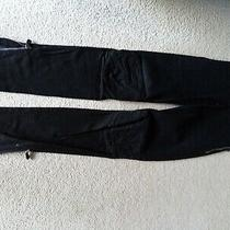 Alexander Mcqueen Black Skinny Biker Jeans Size 38 Uk 10-12 Hand Altered Photo