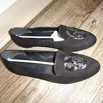 Alexander Mcqueen Black Suede Sequin Skull Loafer Flats Ballet Size 37.5  645 Photo