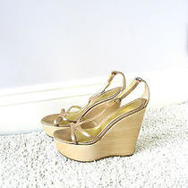Alexander Mcqueen Gold Leather Wood Strap Wedge Sandal Heels Shoes Uk7 Us10 Eu40 Photo