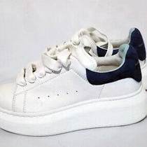 Alexander Mcqueen Kids Platform Sole Sneakers With Blue Suede Trimmed at Back. Photo