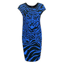 Alexander Mcqueen Mcq Blue Tiger Knit Bodycon Fitted Sweater Dress 46/10 New Photo