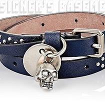 Alexander Mcqueen Navy With Silver Skull Charm Studded Wrap Bracelet Nib Authent Photo