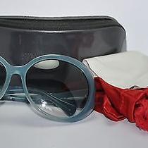 Alexander Mcqueen Oversized Blue Round Gradient Bird Design Sunglasses W/ Case Photo