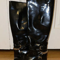Alexander Mcqueen Patent Leather Chain Riding Boots Size 40  Photo