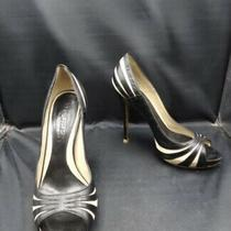 Alexander Mcqueen Peep Toe Pumps (Black & Off White) - Size 38.5 Photo