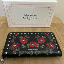 Alexander Mcqueen Red Flower Poppy Print Continental Purse Wallet Rp 540 Photo