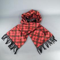 Alexander Mcqueen Red Tufted Print Satin Fringe Scarf Photo
