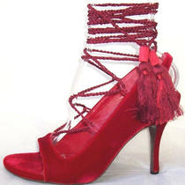 Alexander Mcqueen Red Velvet Silk Ankle Wrap Sandals Shoes 36.5 or 39.5 Photo