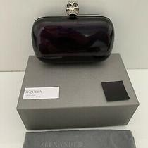 Alexander Mcqueen Silver Crystal Skull Vintage Purple Patent Leather Clutch Photo