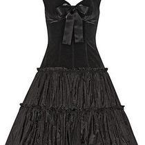 Alexander Mcqueen Velvet and Silk Taffeta Black Dress Photo