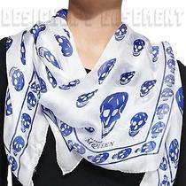 Alexander Mcqueen White With Blue Skulls Silk Chiffon 41x47