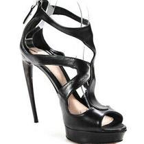 Alexander Mcqueen Womens Leather T-Strap Stiletto Heel Sandals Black Size 8 Photo