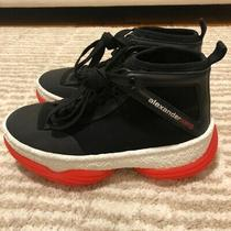 Alexander Wang A1 Lace-Up High-Top Sneakers Women's Size 7.5/37.5 Black and Red Photo