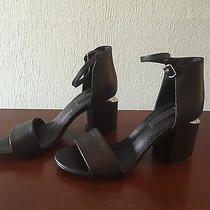 Alexander Wang Abby Black Leather Sandals Block Heels Size 38 Photo