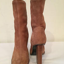 Alexander Wang Gia Stretch Suede Block Heel Boots in Clay 695 Photo
