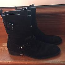 Alexander Wang 'Louise' Buckled Moto Black Suede Boots It 39.5/ Us 9.5 850 Photo
