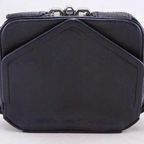 Alexander Wang Navy Zippered Embossed Leather Clutch Photo