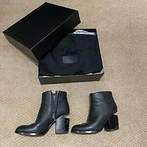 Alexander Wang Women's Gabi Boots Black Leather Rose Gold Ankle Metal Size 38 Photo