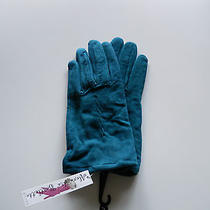 Alexandra Bartlett Teal Blue Lamb Suede Leather Gloves Size Small Photo