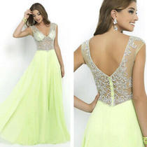 Alexia Blush Beautiful Lime Green Beaded Evening Gown Size 10 Bnwt  Photo