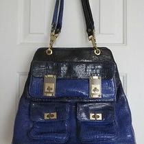 Alexis Hudson Aspen Ombre Tote Dark Blue and Black Crocodile Handbag / Purse Photo