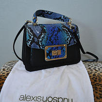 Alexis Hudson Top Handle Blue & Black Snakeskin Handbag Purse New Photo