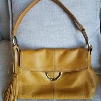 Alfani Leather Purse Hobo Handbag W/ Tassels & Metal Rings- Yellow Msrp 98 Photo