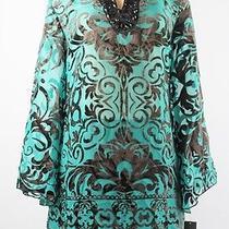 Alfani Long Sleeve Beaded Tunic Holiday Teal Size 8 Lulu Photo