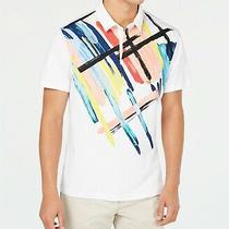 Alfani Mens Polo Shirt White Multi Size 2xl  Expression Button-Front  55 079 Photo