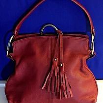 Alfani Red Leather Hobo Shoulder Handbag Purse Tassle Euc Photo