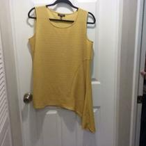 Alfani Shirt - Top - Asymmetrical Hem - Mustard Yellow - Sleeveless - Size Ox 14 Photo
