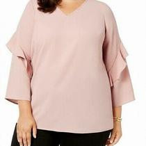 Alfani Women's Blouse Classic Blush Pink Size 1x Plus Ruffled v-Neck 75 516 Photo